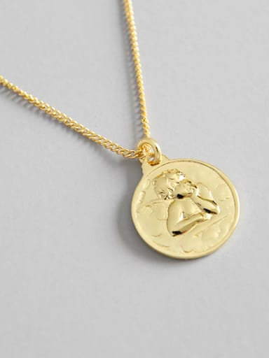 925 Sterling Silver With 18k Gold Plated Trendy angel Necklaces