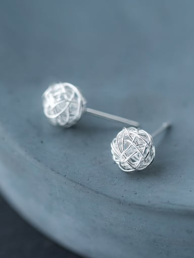 Personality Ball Shaped S925 Silver Stud Earrings