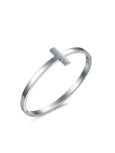 Simple Cross Titanium Smooth Bangle