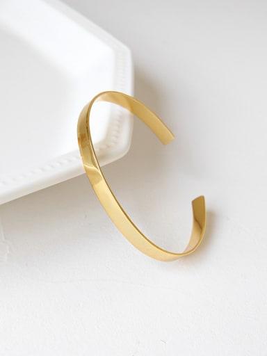 Sterling silver minimalist gold glossy open bracelet