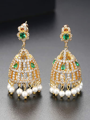 Copper inlaid AAA zircons new style bell-shaped earrings