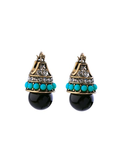 Retro Personality Color Resin Clip stud Earring