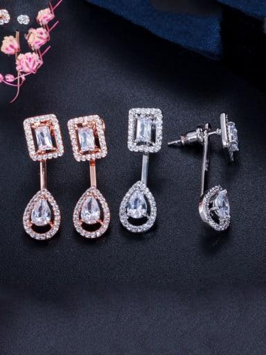 Copper With Cubic Zirconia  Luxury Water Drop Stud Earrings