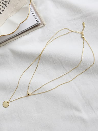 Pure silver geometric round bead double clavicle Necklace