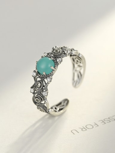 925 Sterling Silver Vintage Colored stone Free size  Rings