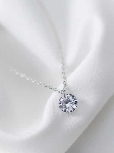Temperament Round Shaped Zircon S925 Silver Necklace