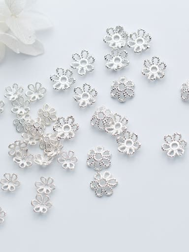 925 Sterling Silver With Silver Plated Fashion Flower Bead Caps