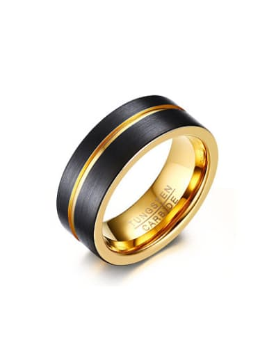 Delicate Double Color Geometric Shaped Tungsten Ring