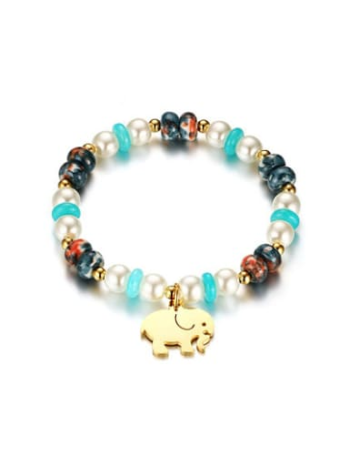 Lovely Elephant Shaped Gold Plated Stone Bracelet