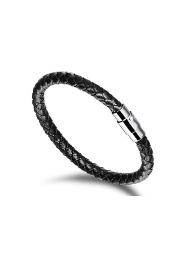 Simple Woven Artificial Leather Bracelet