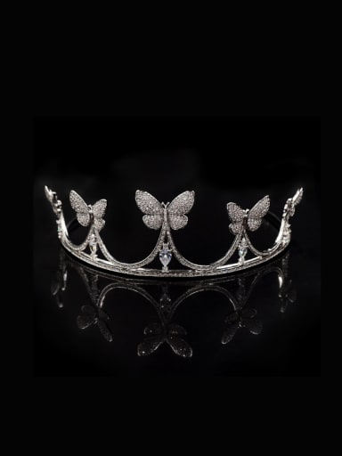 Crown Butterfly Zircons Birthday Wedding Copper Hair Accessories