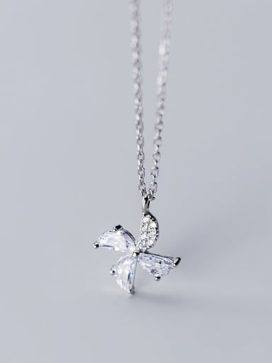 925 Sterling Silver With  Cubic Zirconia  Cute Clover Necklaces