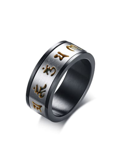 Vintage Black Gun Plated Scriptures Titanium Ring