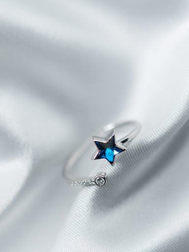 Elegant Blue Star Shaped Zircon Open Design Ring