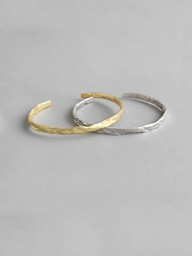 925 Sterling Silver With Smooth Simplistic Irregular Free Size Bangles
