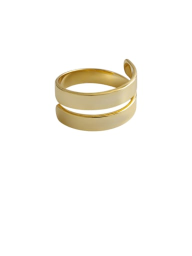 925 Sterling Silver With Gold Plated Simplistic   Double Layer Smooth Free Size Rings