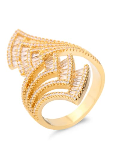 Copper With  Cubic Zirconia Fashion Geometric Statement Rings
