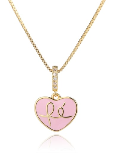 Copper With  Enamel Cute Heart Locket Necklace
