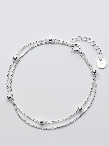 Fashion Double Layer Design S925 Silver Bracelet