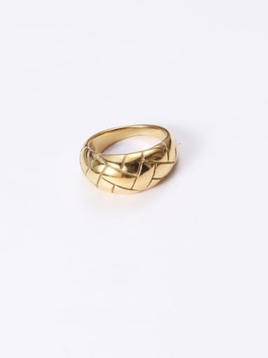 Titanium With Gold Plated Fashion Geometric Veins Band Rings