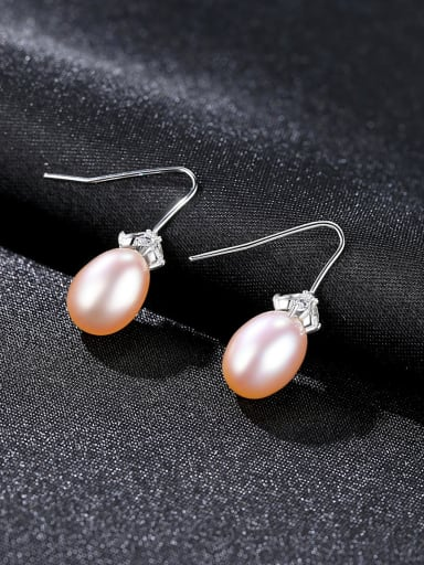 Pure silver with 3A zircon natural freshwater pearl studs