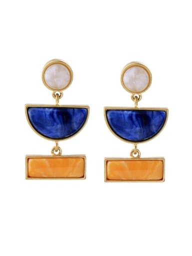 Colorful Resin Geometric Alloy drop earring
