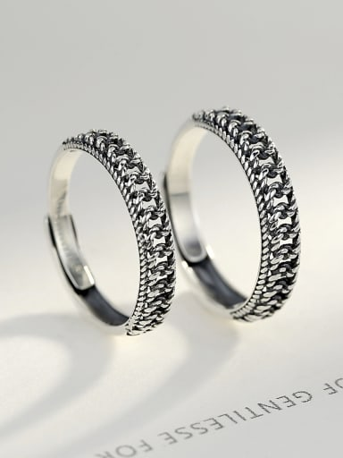Sterling silver retro couple ring free size ring