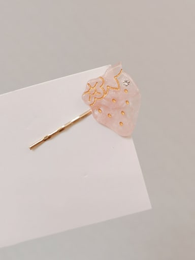 4.8- Pink Alloy With Rose Gold Plated Cute Strawberry Barrettes & Clips