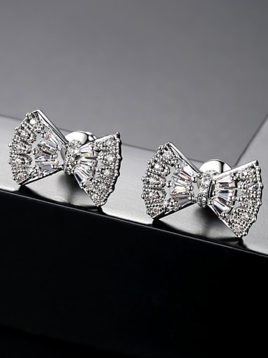 AAA zircon inlaid bow earrings