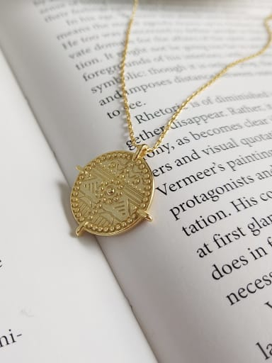 925 Sterling Silver With 18k Gold Plated Personality Round Necklaces