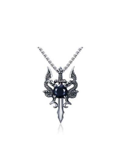 Personality Double Dragon Shaped Zircon Titanium Necklace