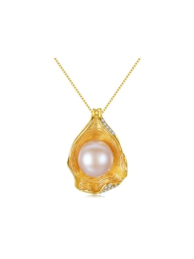 Pure silver shell design freshwater pearl gold necklace