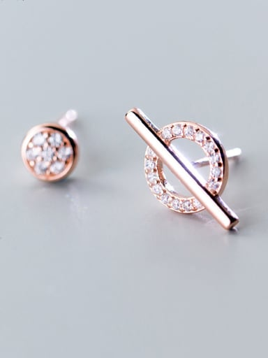 Sterling silver and round round stud earrings with asymmetrical earrings
