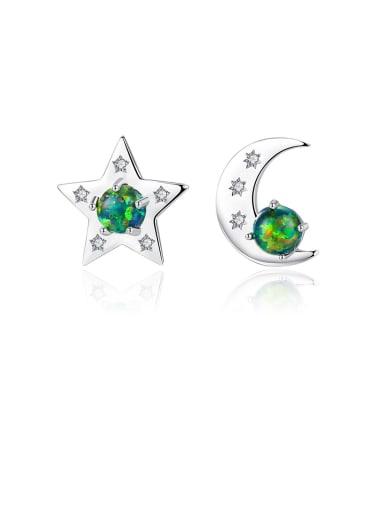 925 Sterling Silver With  Opal Cute Star  Moon Asymmetry  Stud Earrings