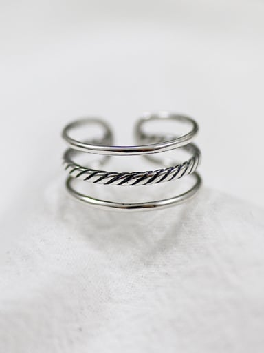 Simple Three-band Antique Silver Plated Opening Ring
