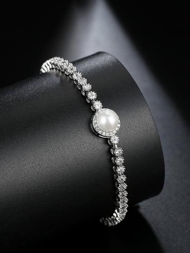 AAA zircon inlay imitation pearl simple bracelet
