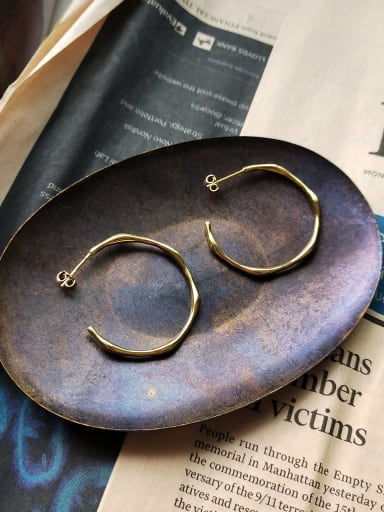 Sterling Silver irregular gold ring ear studs earing