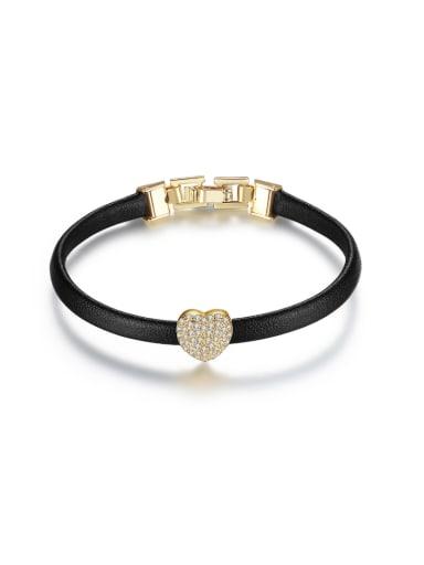 Copper inlaid zircon simple leather rope bracelet