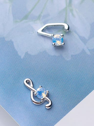 925 Sterling Silver With Platinum Plated Fashion Note Stud Earrings