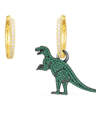 Creative animal green micro-inlay dinosaur unsymmetrical Earrings