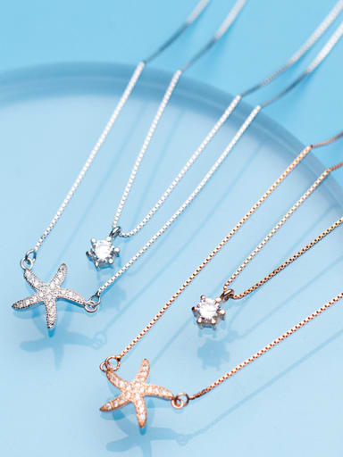 Sterling Silver Starfish micro-inlay zircon double-layer Necklace Chain