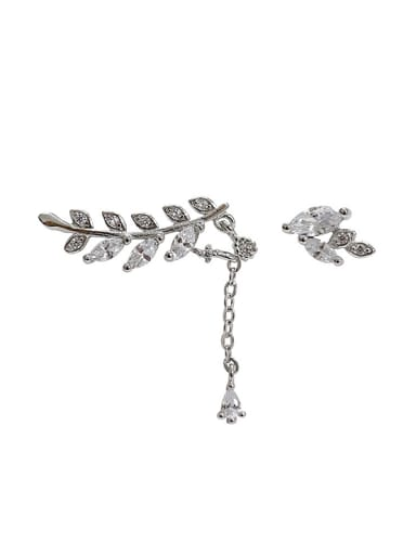Fashion Asymmetrical Leaves Marquise Zircon Silver Stud Earrings