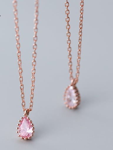 925 Sterling Silver With Rose Gold Plated Simplistic Water Drop Necklaces