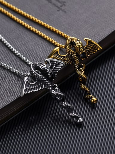 Stainless Steel With Antique Gold Plated Vintage Animal dragon Pendants