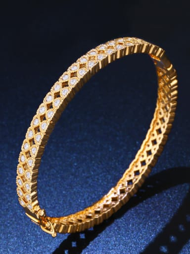 Copper With Cubic Zirconia Classic Geometric Bangles