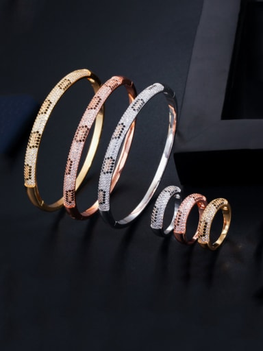 Copper With Cubic Zirconia Delicate Round  Bracelet  Rings 2 Piece Jewelry Set