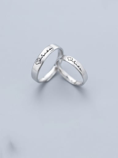 925 Sterling Silver With Platinum Plated Simplistic Heart Engagement Free Size  Rings