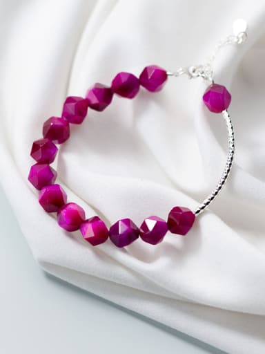 Sterling Silver special-shaped stone unique rosy beaded style bracelet