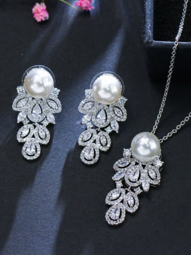 The Luxury Shine AAA Zircon Imitation pearls Necklace Earrings 2 Piece jewelry set