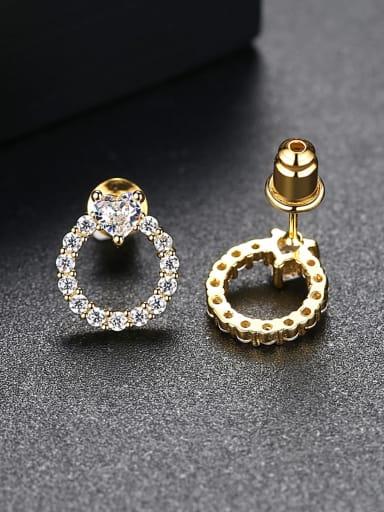 Copper inlay AAA zircon simple love ring earrings